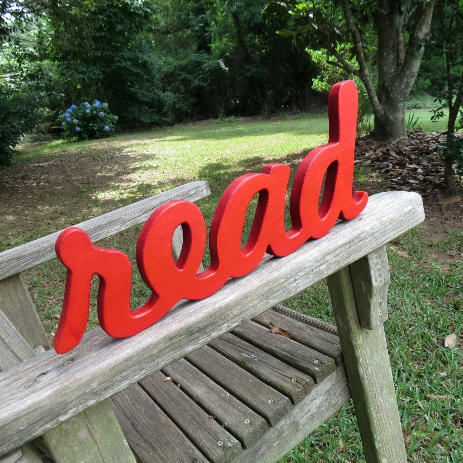 wood read wall hanging sign home decor choice of colors lightly distressed or solid color