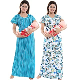 1bb68ae5612 TUCUTE Women Beautiful Print with Invisible Zip + Floral Print Feeding  Maternity Nursing Nighty