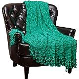 Chanasya Super Soft Beautiful Elegant Decorative Woven Popcorn Texture Couch Bed Aqua Throw Blanket With Ball Fringe- Teal