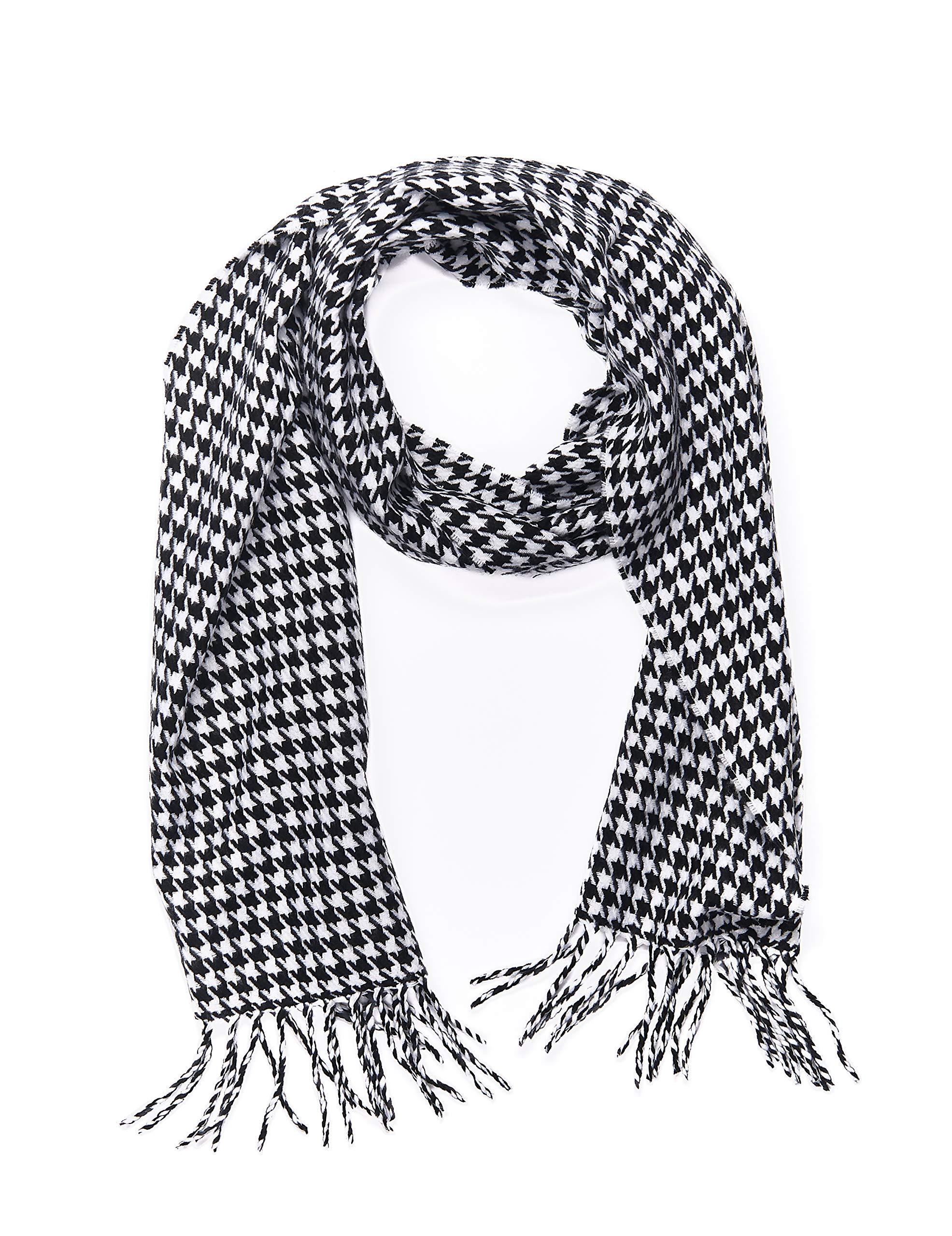 INVERNO Super Soft Luxurious Cashmere Feel Warm Winter Pattern Design Unisex Scarf (Black White Houndstooth)