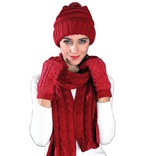 0632d73ef Warm Scarf Glove Hat Beanie Set - Cable Knit Winter Gift Set Pom Cap Touch  Screen Glove Long Scarf 3 PCS Set for Women