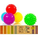 Spiky Sensory Balls (Pack of 5) - Squeezy and Bouncy Fidget Toys/Sensory Toys - BPA/Phthalate/Latex-Free