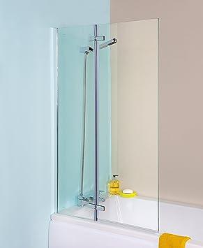 VeeBath Fenwick Straight Bathroom Glass Shower Reversible Folding Bath  Screen Seal With Stylish Satin Chrome Hinges Part 41