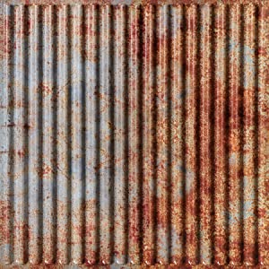 From Plain To Beautiful In Hours 261otr-24x24-25 Ridged Metal PVC 2' x 2'Glue-up or Lay-in Ceiling Tile (Case / 100 sq.ft), Pack of 25, Old Tin Roof, 25