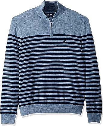 Nautica Mens Big /& Tall Mock-Neck Breton Stripe Sweater