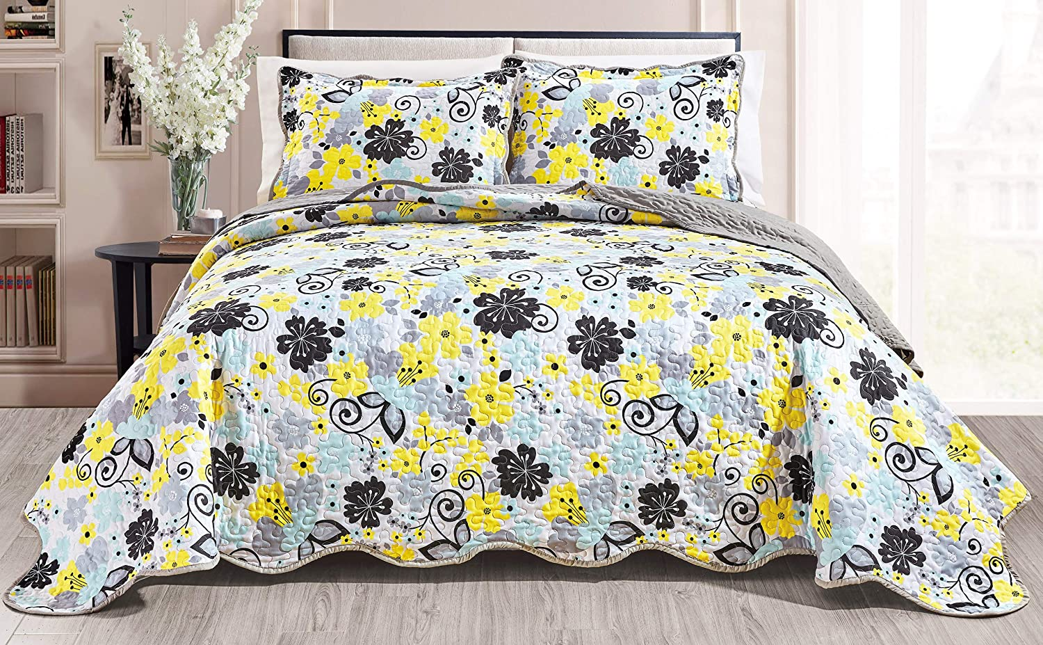Quilt Set Reversible Bedspread Coverlet King Size Bed Cover (Yellow, Black, Grey, Aqua Blue Floral)