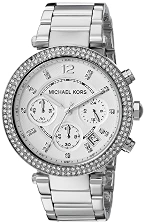 3b648b2c075a9 Image Unavailable. Image not available for. Color  Michael Kors Women s  Parker Silver-Tone Watch MK5353