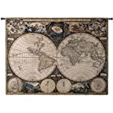 """Fine Art Tapestries """"Old World Map"""" Wall Tapestry"""