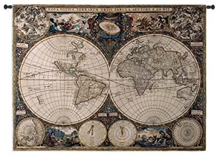 Amazon fine art tapestries old world map wall tapestry home fine art tapestries quotold world mapquot gumiabroncs Gallery