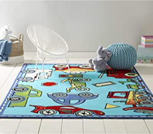 "Home Dynamix Cars and Trucks Kid's Area Rug 1'1""x2'11"", Rectangle, Blue"