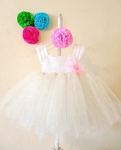 fe848c98a Vestido de Crochet con Tul para Niña Bebé 3 a 6 Meses  Amazon.com.mx ...