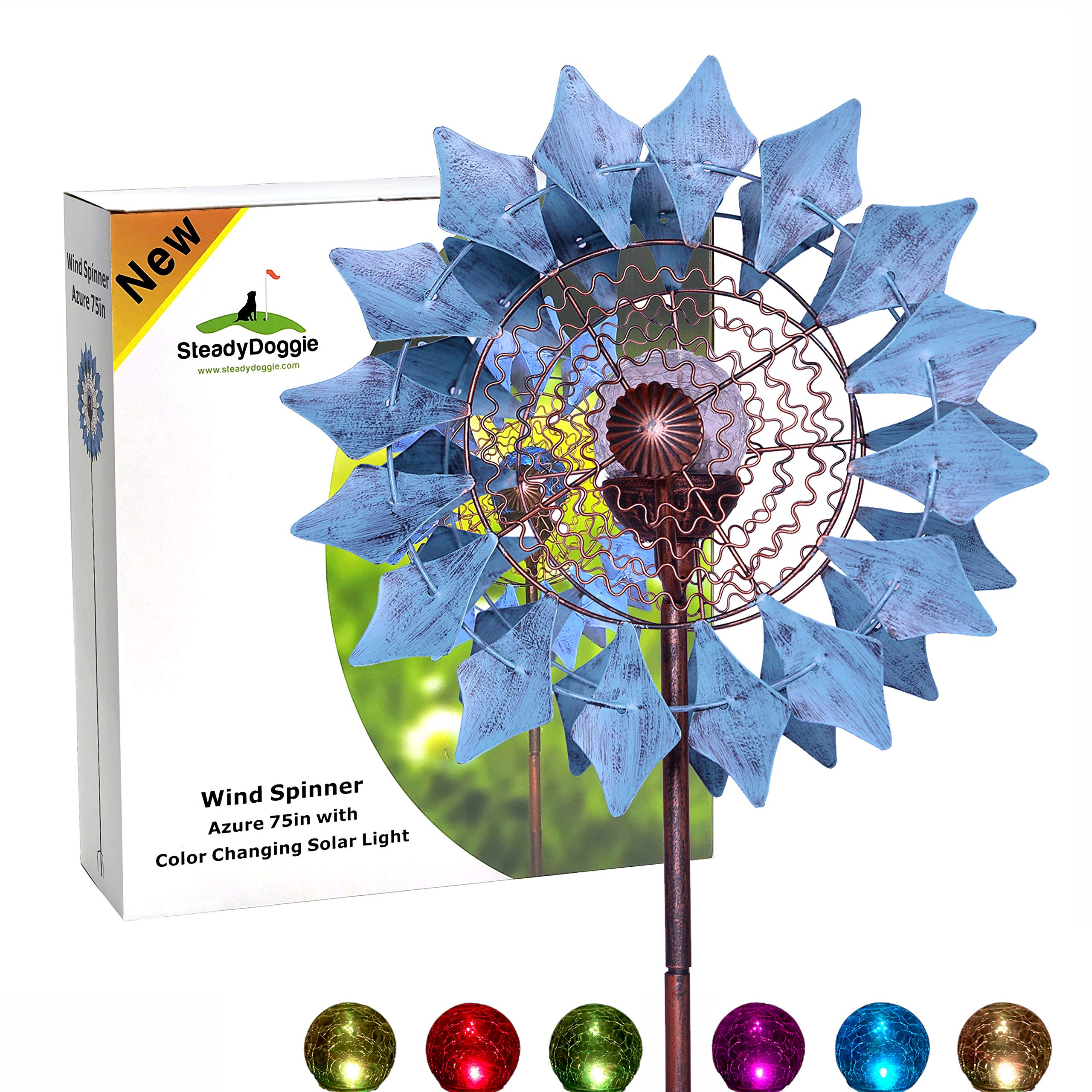 Solar Wind Spinner New Azure 75in Multi-Color Seasonal LED Lighting Solar Powered Glass Ball with Kinetic Wind Spinner Dual Direction for Patio Lawn & Garden by SteadyDoggie