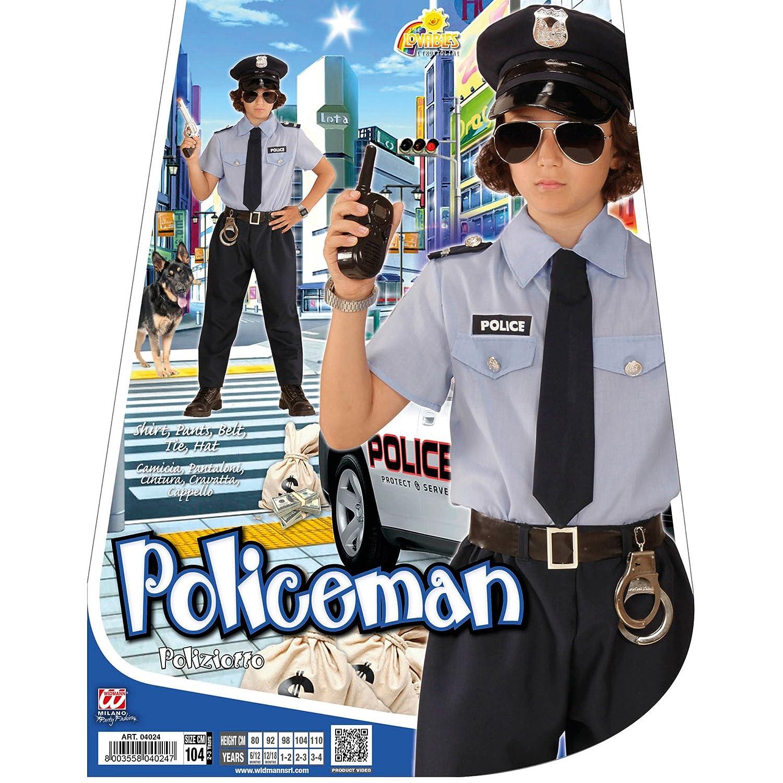 7c5a61f2d8 WIDMANN Poliziotto Camicia Pantaloni Cintura Cravatta Cappello Costumi  Completo 861 per Adulti, Multicolore, 140 cm / 8-10 anni 8003558040278:  Amazon.it: ...