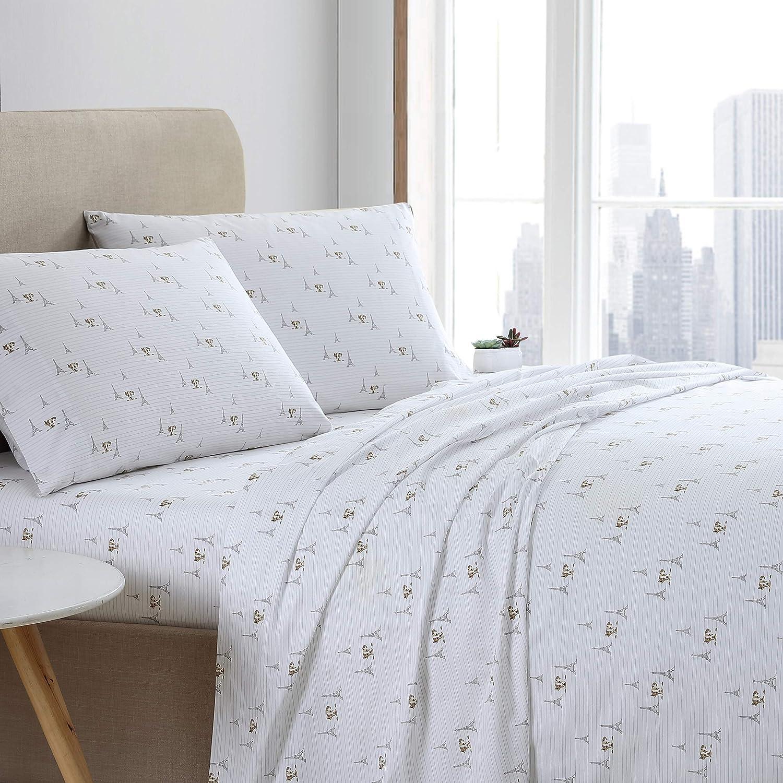 ED Ellen DeGeneres| Percale Collection | Bed Sheet Set - 100% Cotton, Crisp & Cool, Lightweight & Moisture-Wicking Bedding, Queen, Augie in Paris (USHSA01168406)