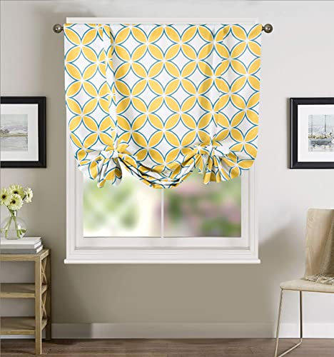 Annlaite Geo Valance for WindowsThermal Insulated Curtain Adjustable Tie Up Shade Rod Pocket Panel for Small Window Single 45 Inch by 63 Inch Yellow