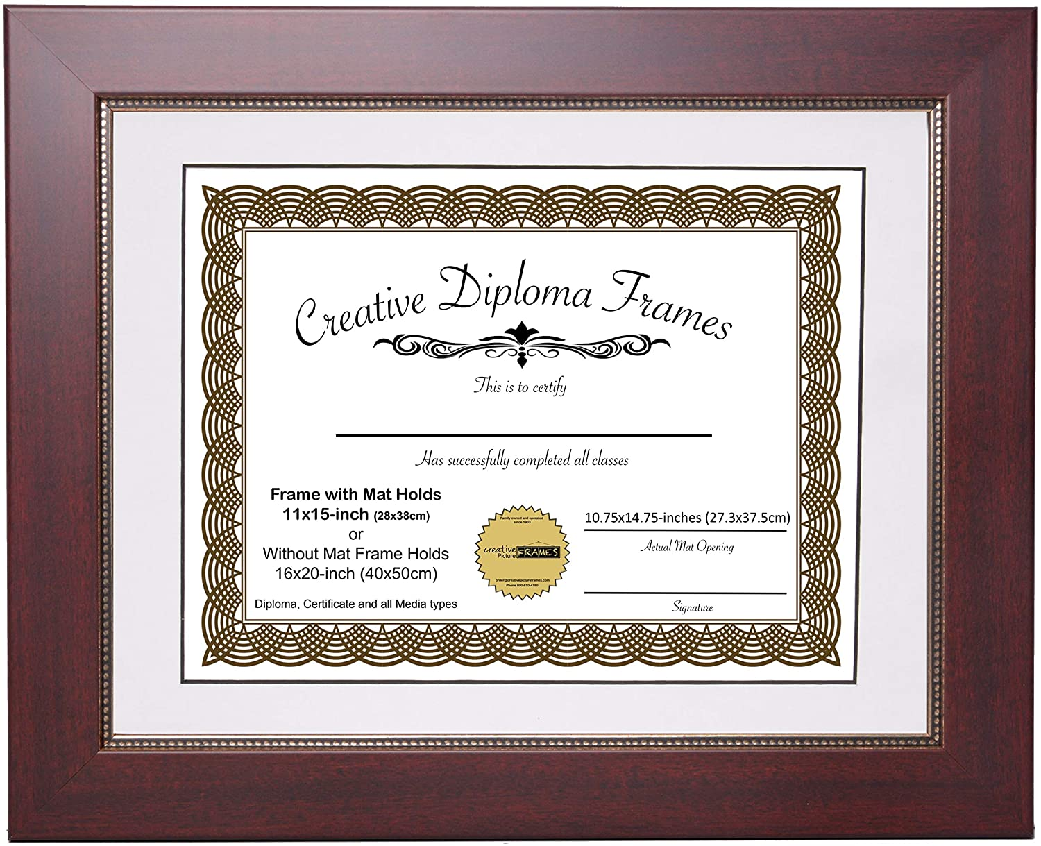 Printed Gold Relief Mahogany Diploma Frame with Black Matting Holds 11x14-inch Documents with Glass and Installed Wall Hanger CreativePF 68-810mrv-b