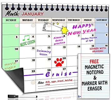 Smart Fish Monthly Magnetic Refrigerator Dry Erase Calendar With