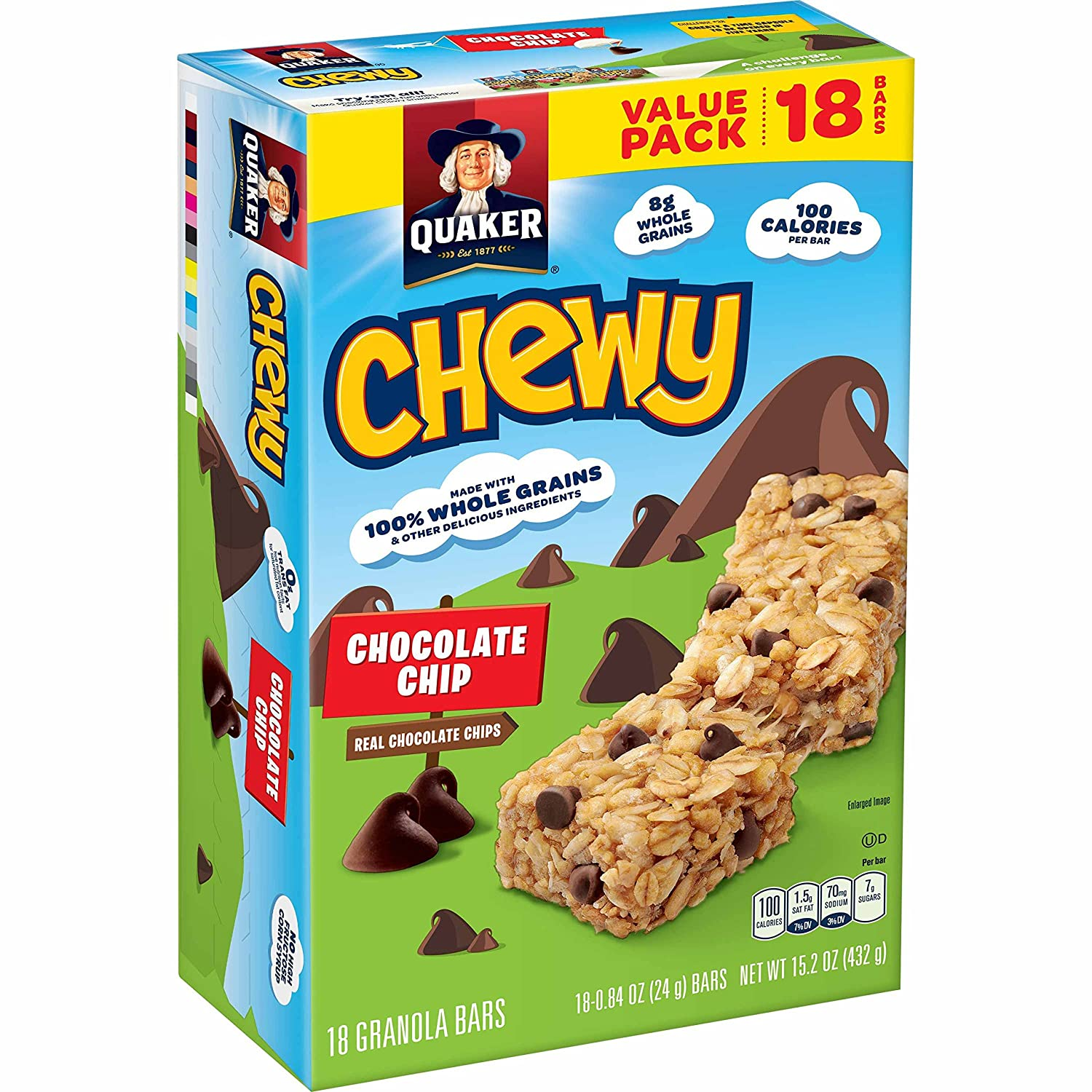 Amazon quaker chewy granola bars chocolate chip 18 bars amazon quaker chewy granola bars chocolate chip 18 bars prime pantry ccuart Image collections