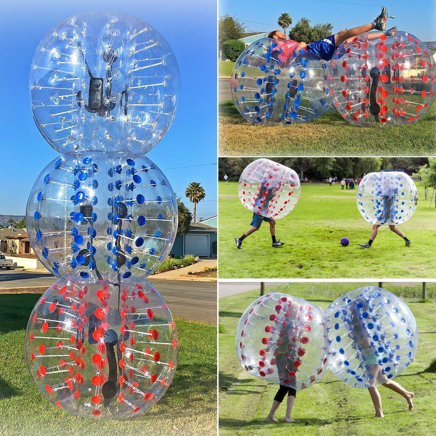 Jinschen Inflatable Bumper Bubble Soccer Ball Dia 5 ft(1.5m) Giant Human Hamster Ball for Adults and Teens