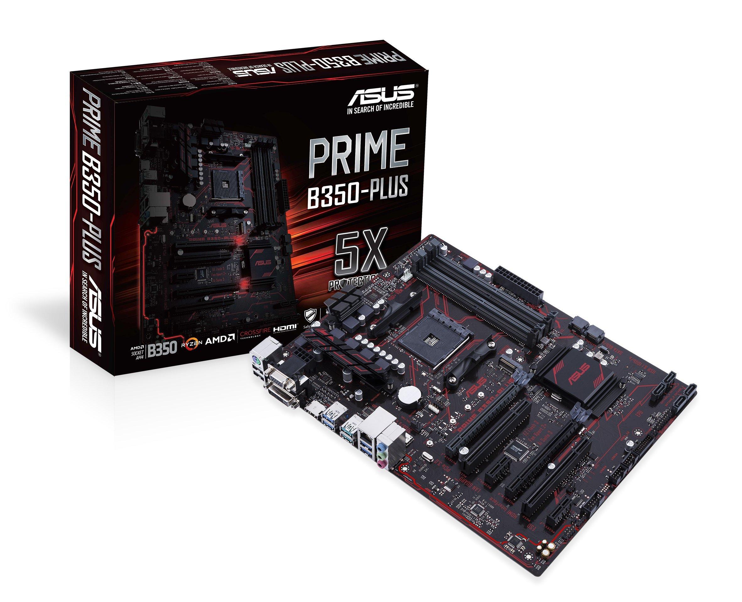 ASUS Prime B350-Plus AMD Ryzen AM4 DDR4 HDMI DVI VGA M.2 USB 3.1 ATX B350 Motherboard by Asus