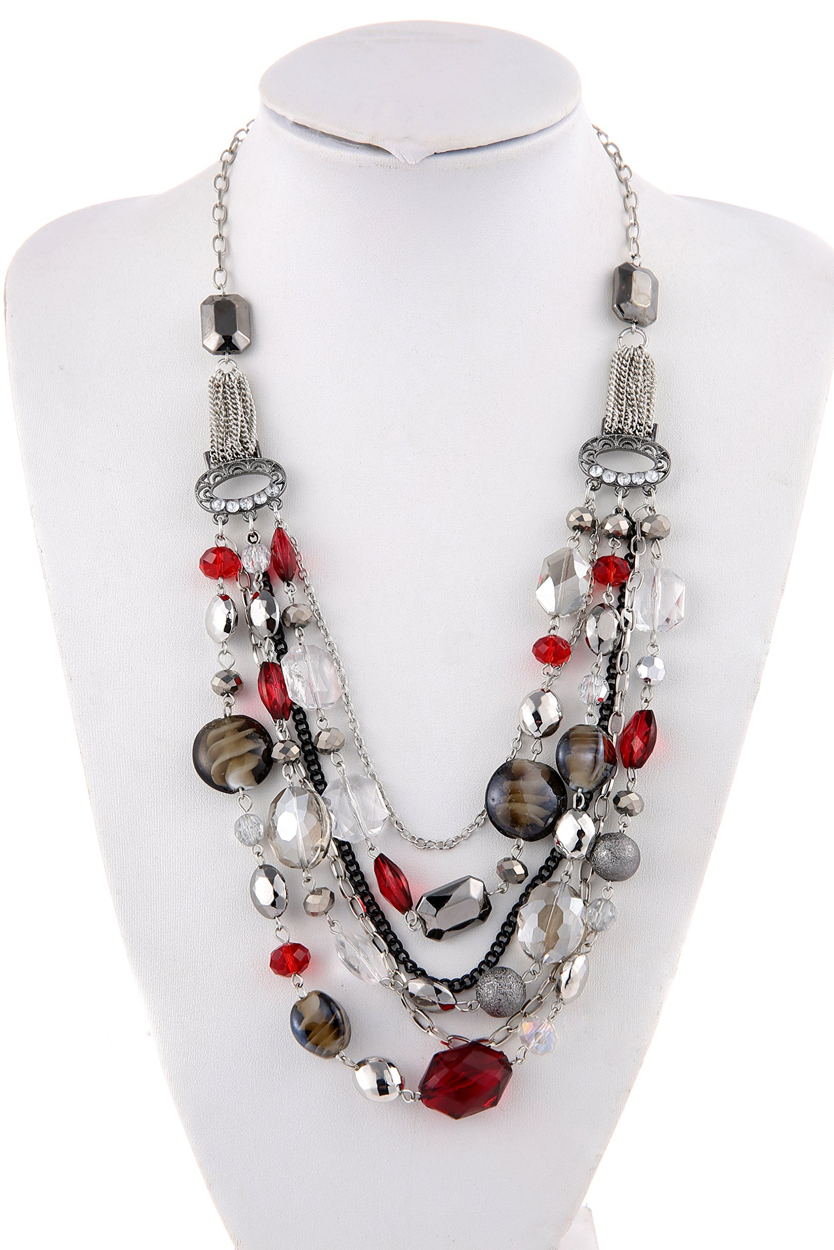 Bocar Newest Multi Layer Chain Crystal Colored Glaze Statement Women Necklace (NK-10061-red)