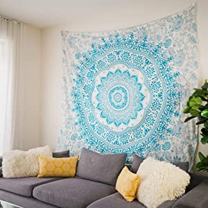 Blue Mandala Tapestry Wall Hanging: Aesthetic Room Decor, Bohemian Wall Decor Tapestries for Bedroom. Boho Wall Art, Hippie Sheet for Wall, Psychedelic Indie Room Decor. Ideal House Warmings Gifts.