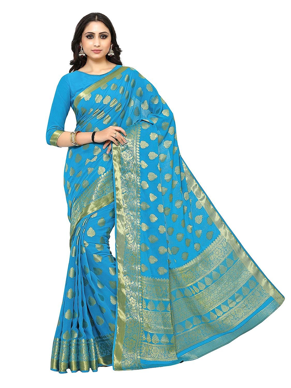 Turquoise Blue Kanchipuram Chiffon Saree With Unstitched Blouse