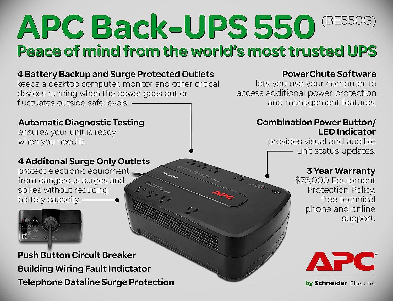 NO BATTERY Lot of 5 APC Back-UPS ES 550 BE550G 8-Outlet Battery Back Up