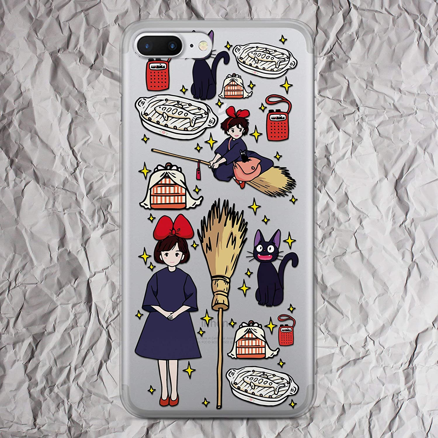 Kiki's Delivery Service Black Jiji Cat Phone Case for iPhone 7 8 6 6s plus X Xs Max Xr 5 5s se 5se 4 4s Inspired by Studio Ghibli Collection Accessories fandom Gifts