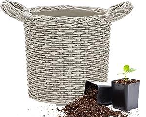 Martha Stewart Garden, Faux Wicker Planter, 10.5 Inch, Gray