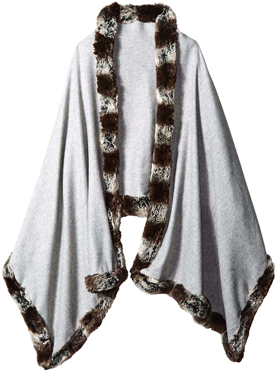 BADGLEY MISCHKA Women's Large Woven Wrap with Faux Chinchilla Trim Grey One Size SCW-3958-BMI.01