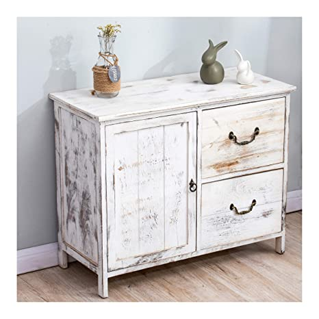 best sneakers 7f883 bde0f Cherry Tree Furniture Distressed White Paulownia Wood Shabby Chic Sideboard  Storage Cabinet