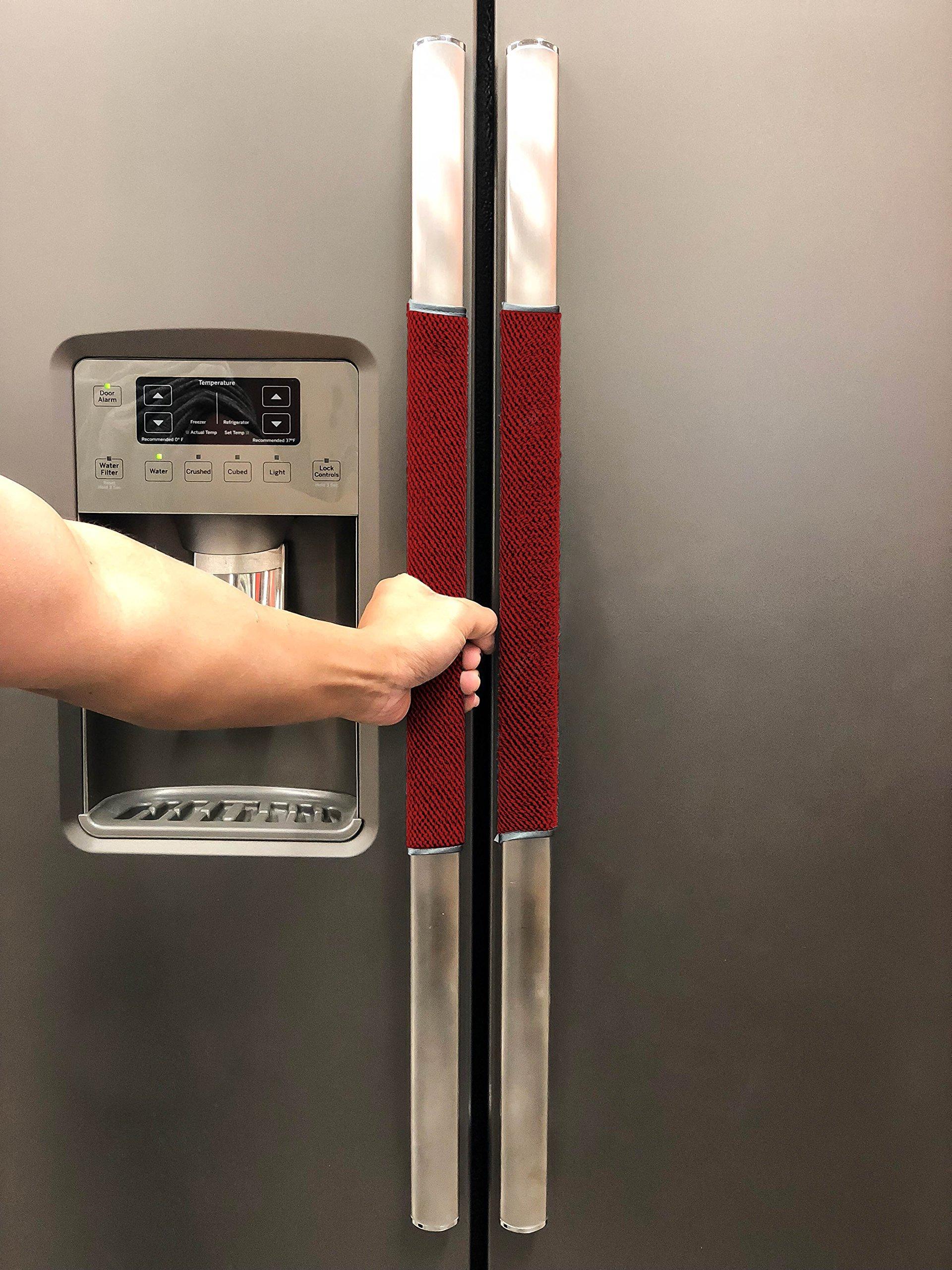 FarmCrafts (4 PIECE SET) 100% ORGANIC COTTON Refrigerator door handle covers for 4 inch handles kitchen Appliances Fridge Microwave Oven Dishwasher - Smudges & Fingerprints(Burgundy/Maroon)