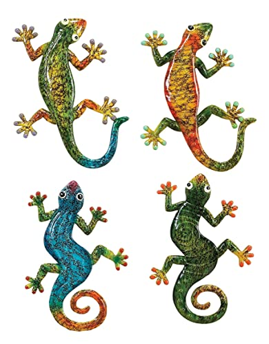 Deco 79 Polystone Gecko, 4 Assorted, 10 by 7