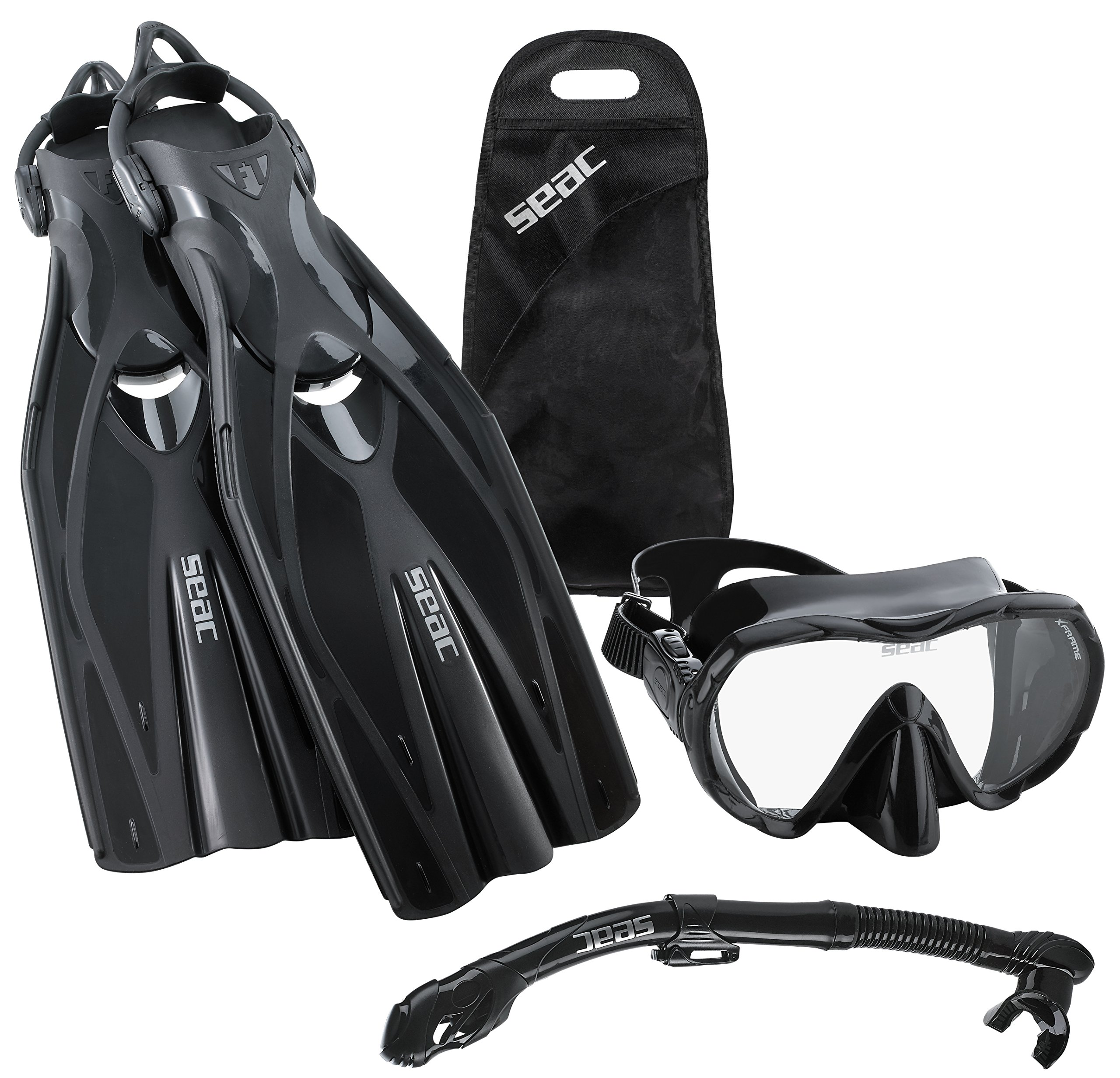 SEAC Frameless Scuba Mask Fin Snorkel Set, Black, Large/X-Large by SEAC (Image #1)