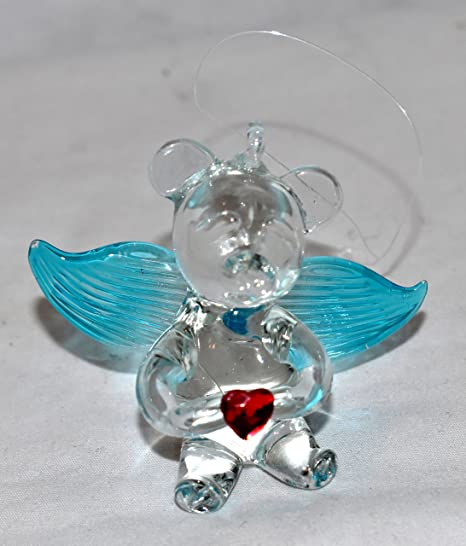 Amazon Com New 2 5 Collectible Teddy Bear With Wings Holding A Heart Hand Blown Glass Hanging Ornament Figure Teal Wings Home Kitchen