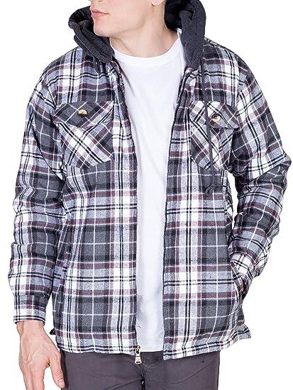 42f38696bf4e Walnut Creek Mens Fleece Lined Plaid Flannel Jacket (Medium, Grey White)