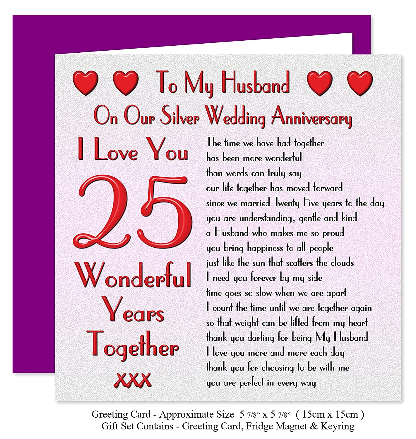My Husband 25th Wedding Anniversary Gift Set Card Keyring