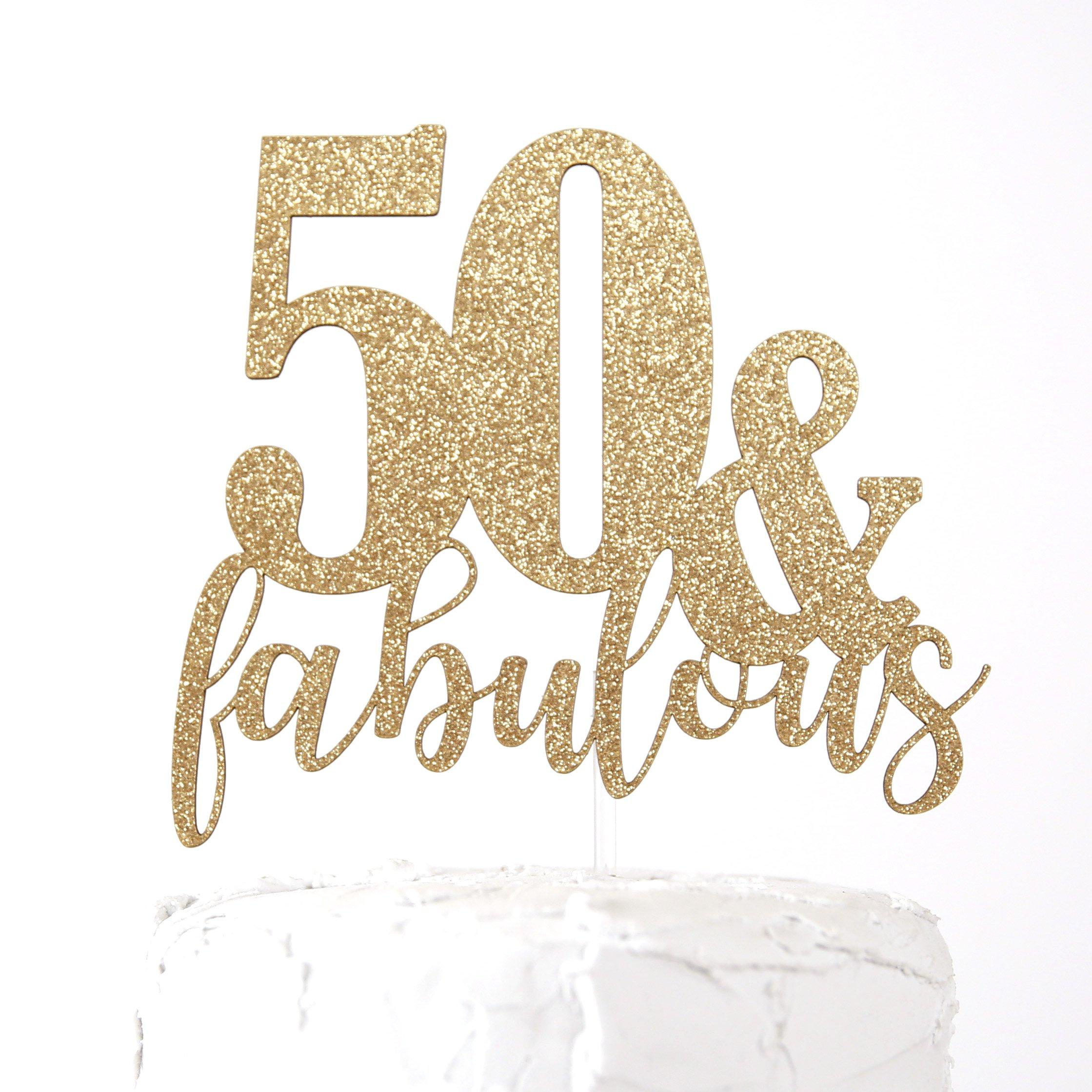 NANASUKO 50th Birthday Cake Topper - 50 & fabulous - Premium quality Made in USA