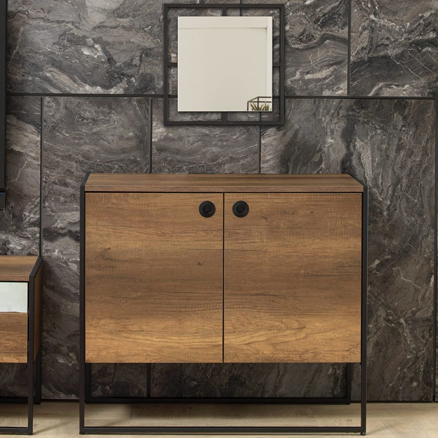 Adam and Illy Virtues CONSOLE W/TWO DOORS & MIRROR, Baroque/Black