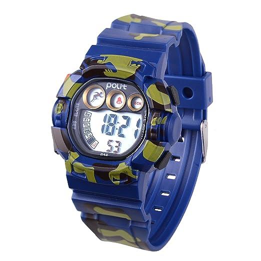 Wolfteeth 39mm Estuche de plástico para niños Reloj Digital para niños Reloj Digital Impermeable al Aire Libre Reloj Deportivo electrónico Deportivo Azul ...