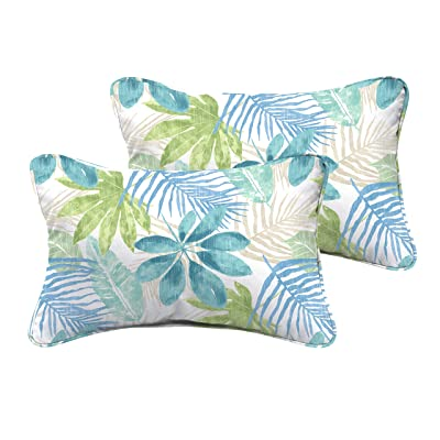 Mozaic AMPS115741 Indoor Outdoor Lumbar Pillows with Corded Edges, Set of 2, 12 x 18, Tropical Blue & Green : Garden & Outdoor