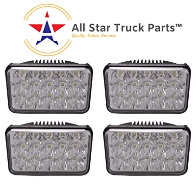 [ALL STAR TRUCK PARTS] 4x6 inch LED Headlights Rectangular Replacement H4651 H4652 H4656 H4666 H6545 for Peterbil Kenworth Freightinger Ford Probe Chevrolet Oldsmobile Cutlass - Set of 4: Automotive
