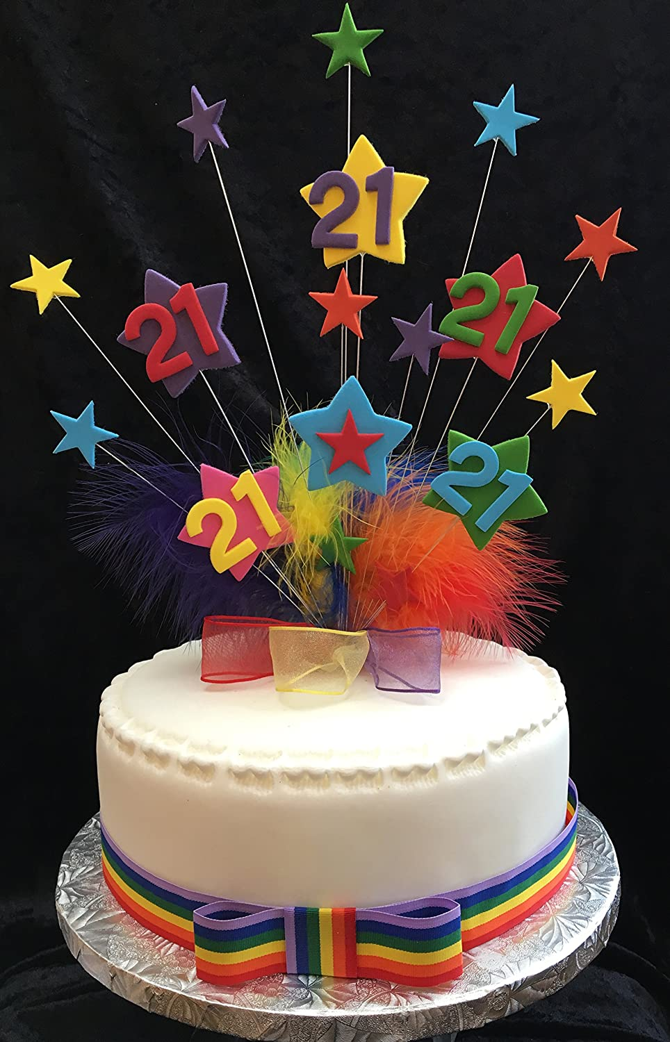 Fine 21St Multicoloured Star Birthday Cake Topper With Marabou Feathers Funny Birthday Cards Online Aboleapandamsfinfo