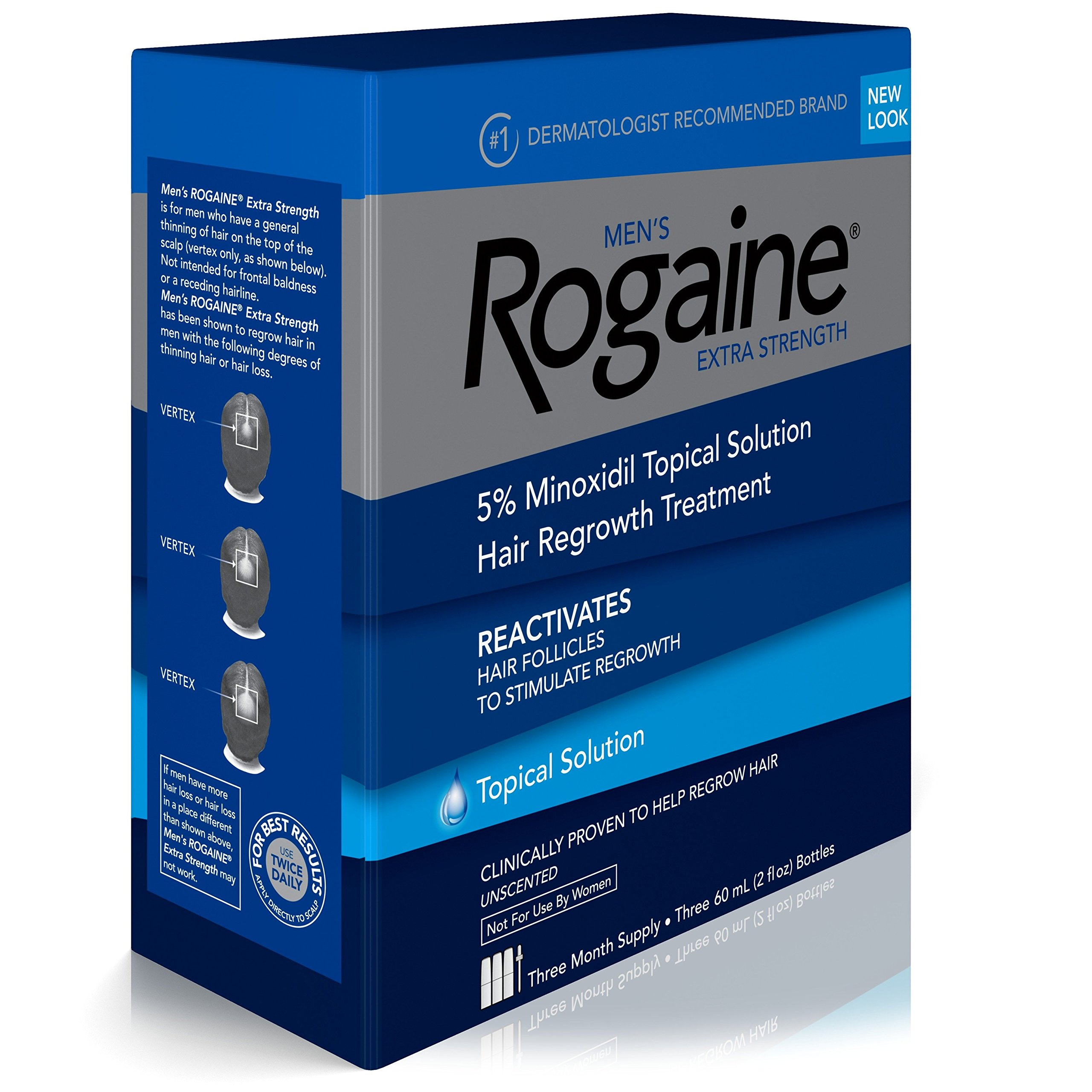 Men's Rogaine Extra Strength 5% Minoxidil Topical Solution for Hair Loss and Hair Regrowth, Topical Treatment for Thinning Hair, 3-Month Supply by Rogaine (Image #3)