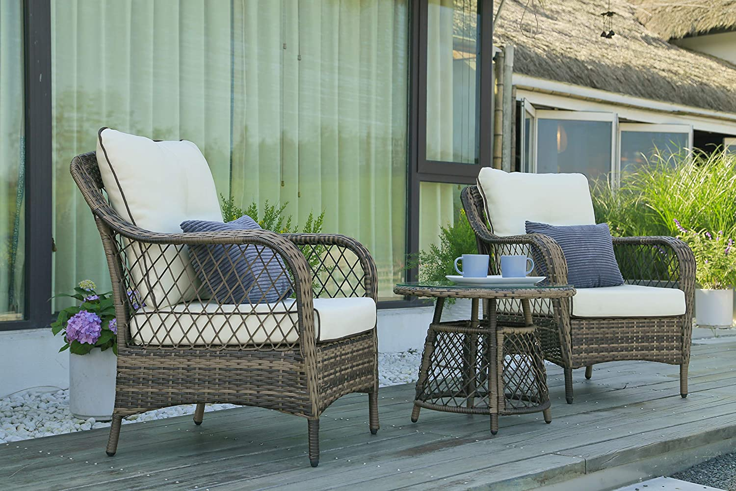 N&V Patio Outdoor Furniture Bistro Sets Mouldproof Wicker Chairs with Glass Coffee Table Pillows & Waterproof Cushions for Outdoor or Indoor Use Porch Backyard Garden 3 Pieces