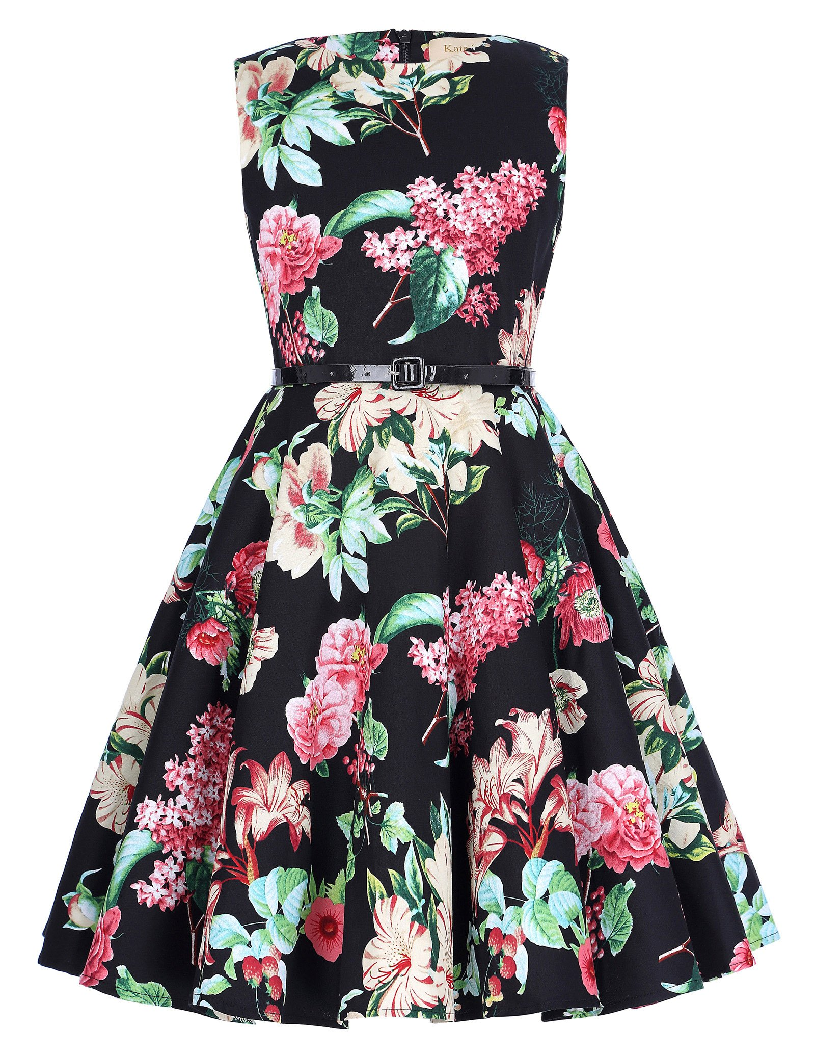 50c809040a9 Kate Kasin Girls Sleeveless Vintage Print Swing Party Dresses 6-15 Years  product image