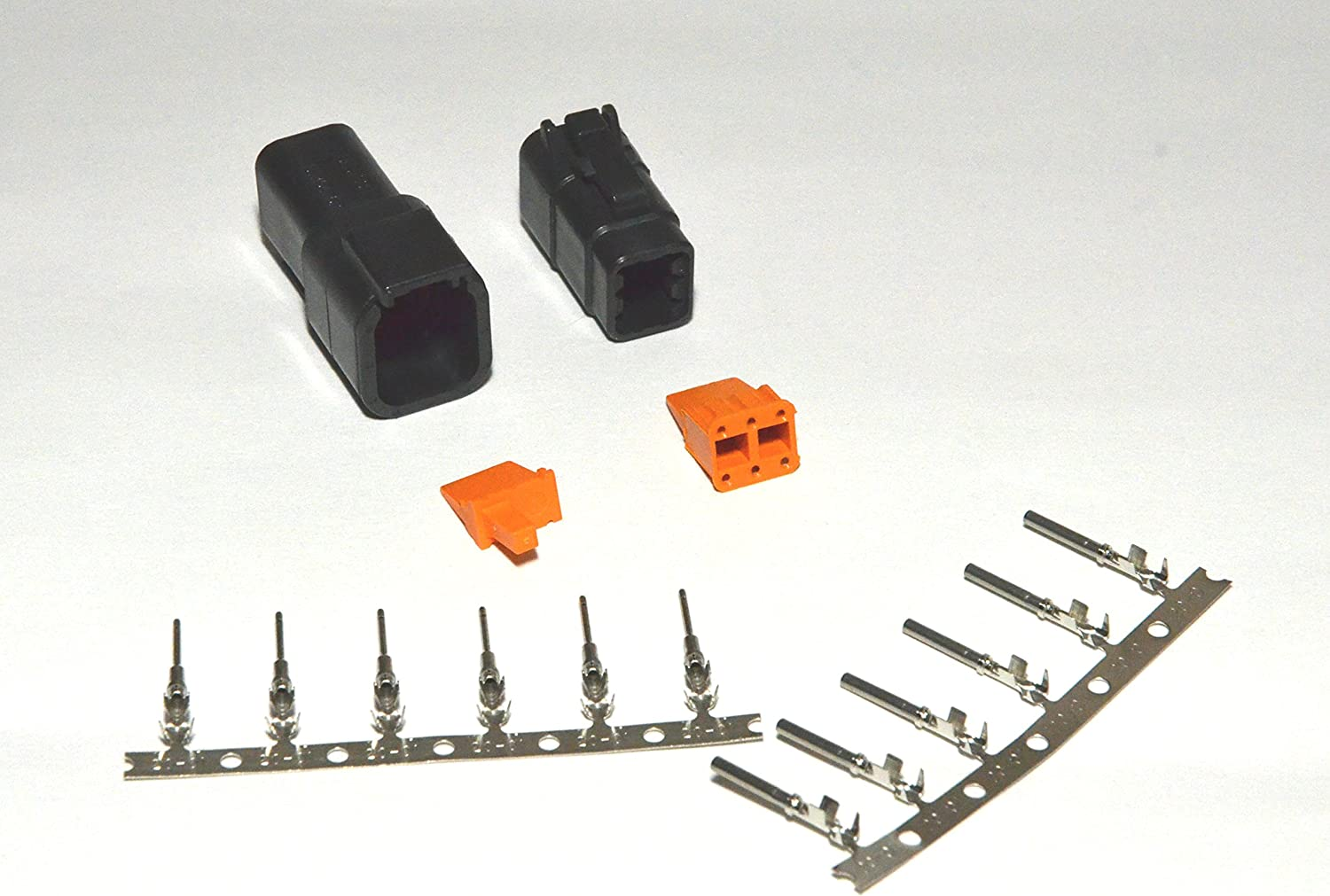 Deutsch DT 6-Pin Black /& Gray Connector Kit USA 14-16AWG Stamped Pins