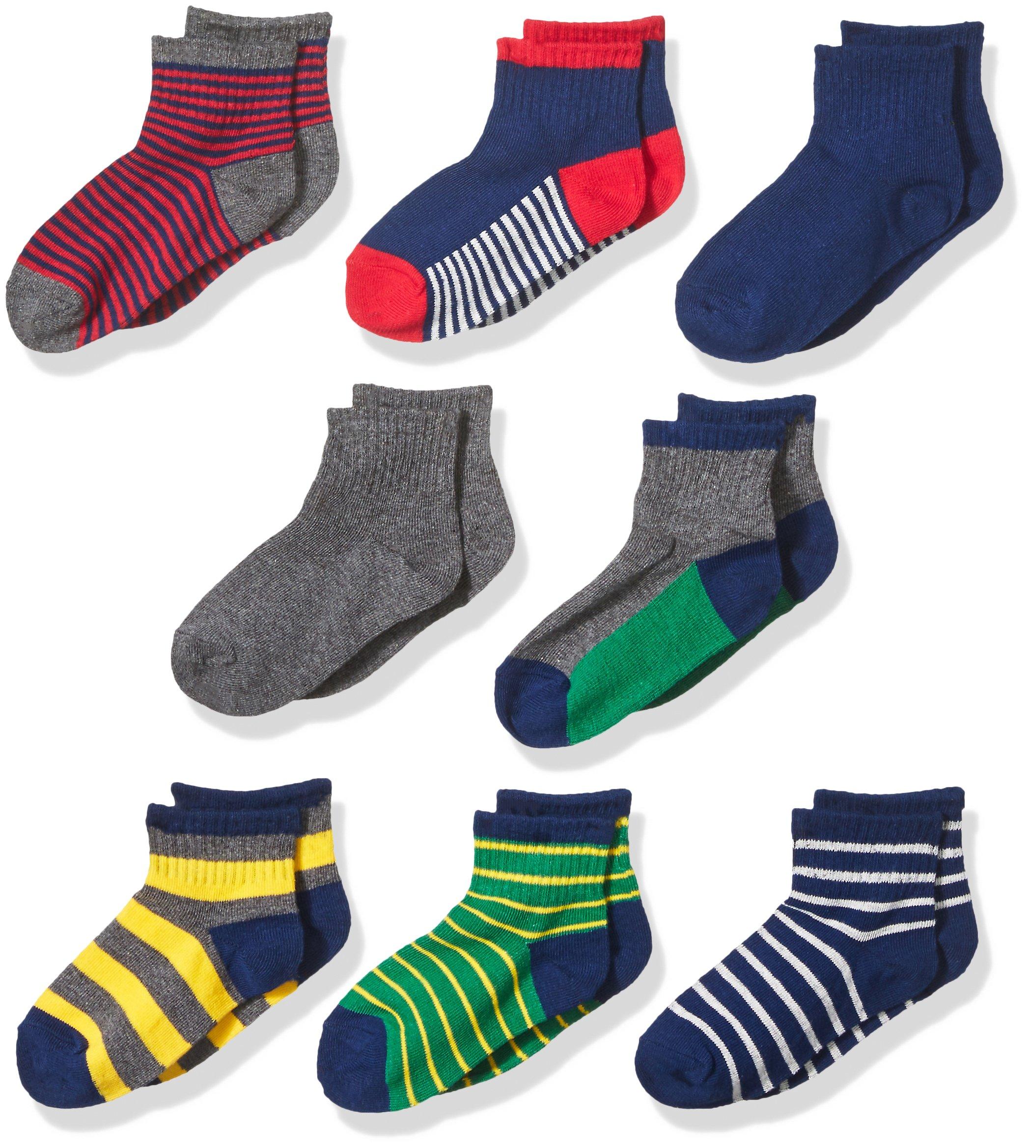 Stride Rite Little Boys' 8-Pack Quarter Socks, Rugby Stripe - Assorted Colors 7-8.5 / Shoe: 10-13