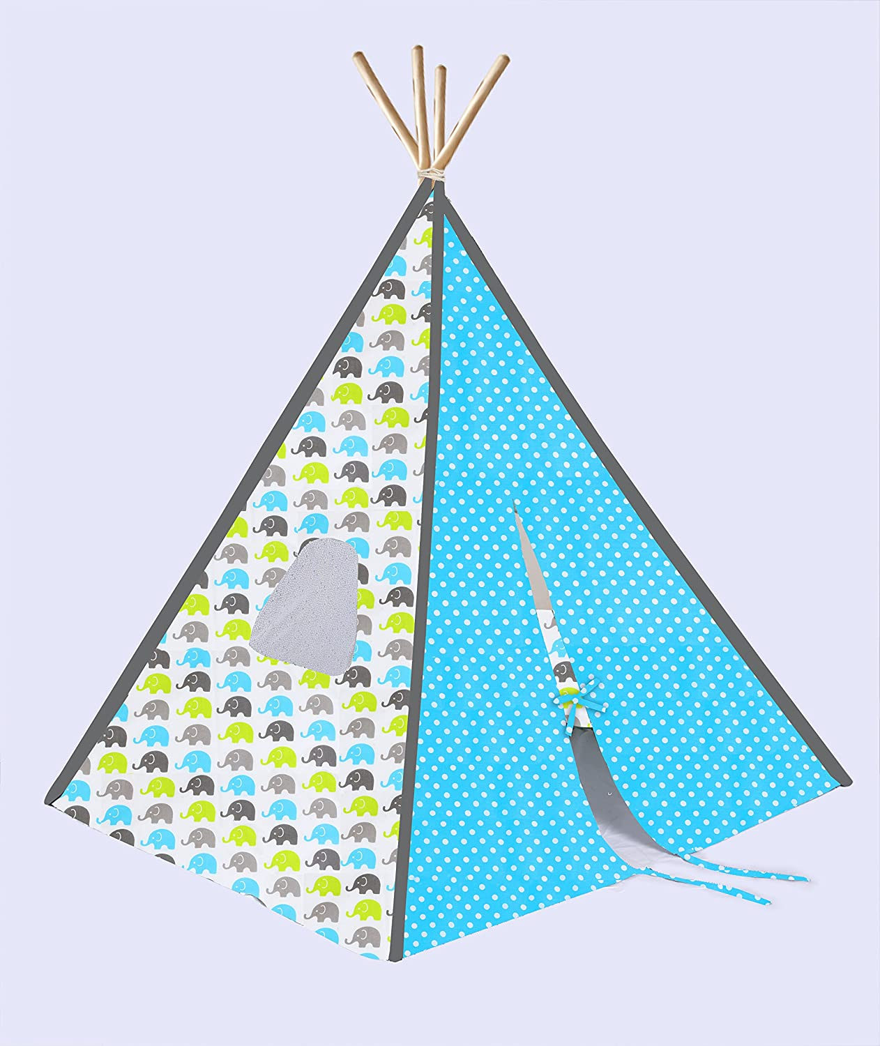 Bacati Elephants Unisex Teepee Tent für Kids, 100% Cotton Breathable Percale Fabric Cover, Aqua/Lime/Grey